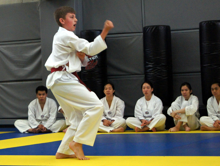 Master Kang demonstrates wrist throw